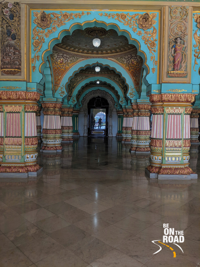 Me getting photographed in the public durbar hall of Mysore Palace