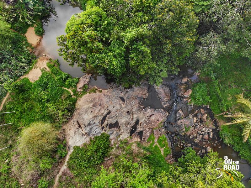 Drone Shot of mountain stream flowing through Mylambady, Wayanad, Kerala