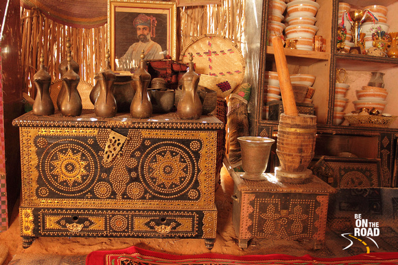 Lovely Mandoos, Quewah Jars and other artifacts inside a traditional Bedouin House, Oman