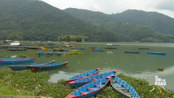 Boats moored on Phewa Lake, Pokhara, Nepal