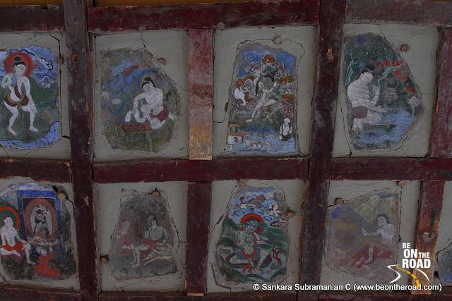 Colourful murals inside the Hemis Monastery