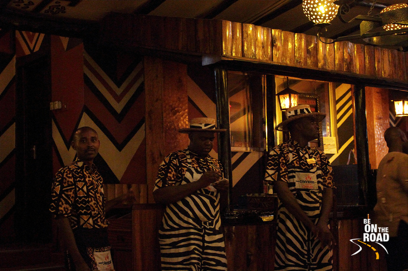 The omnipresent restaurant staff in animal print