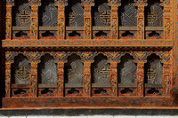 Colourful window on Punakha Dzong, Bhutan