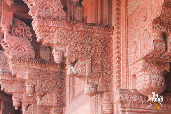 Amazing intricate work everywhere inside Red Fort, Agra