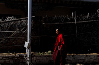 Bhutanese Monk walks the streets of Thimphu