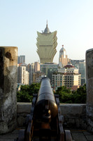 Grand Lisboa and cannon from Portuguese fort, Macau