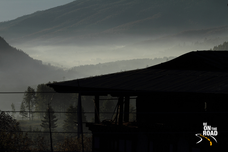 Early morning mist covering the mountains of Drugyel, Bhutan