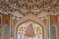 Elephant painting on the main entrance gateway to Amber Fort, Jaipur, Rajasthan