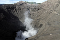 The wide Bromo crater that is always smoking