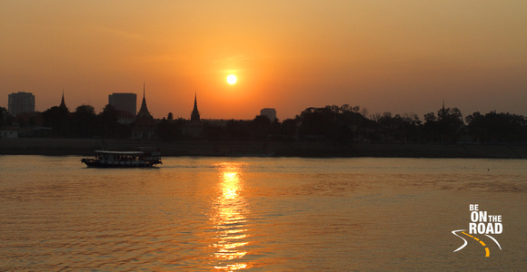 Sunset over the Mekong river at Phnom Penh, Cambodia