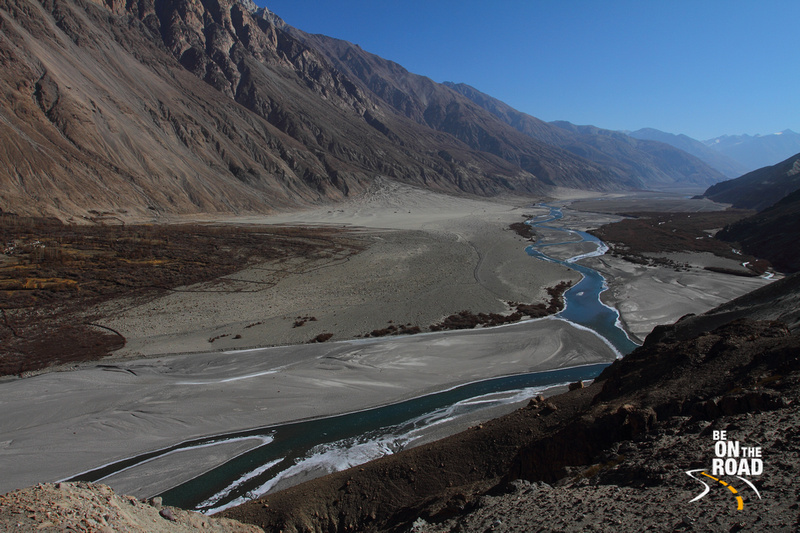The Shyok river flowing in from the Changthang Cold Desert and before it joins the Nubra river