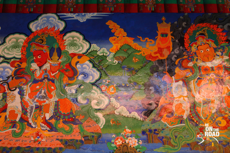 Colourful Murals inside the Lamayuru Monastery