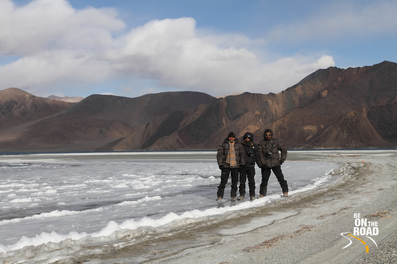 Frozen Pangong Tso Lake in winter