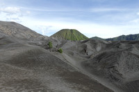 Black Bromo and the other green volcanoes around