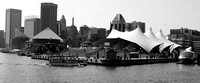 A Baltimore Inner Harbour view set in monochrome