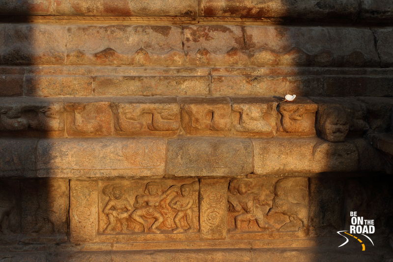 First rays of the morning sun on small sculptures inside the Airavateeswara Temple
