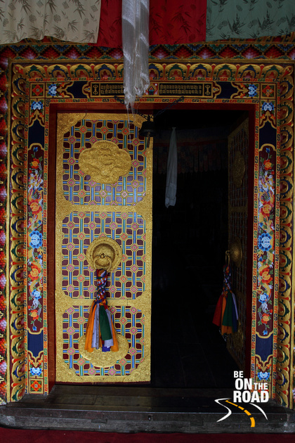 The Colourful entrance door to Tawang Gompa