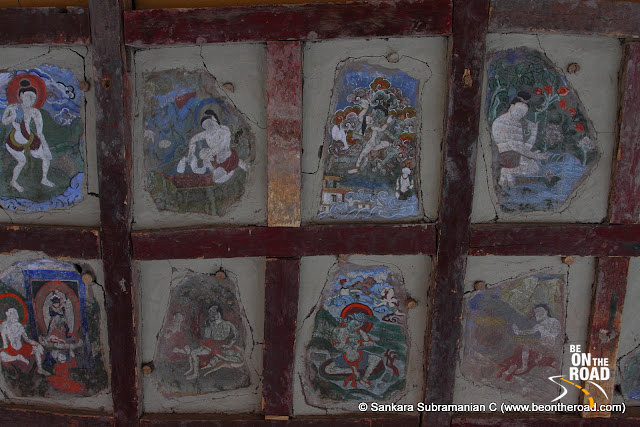 Colourful murals inside the Hemis Monastery