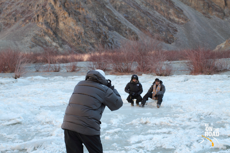 Getting photographed on the frozen Indus river