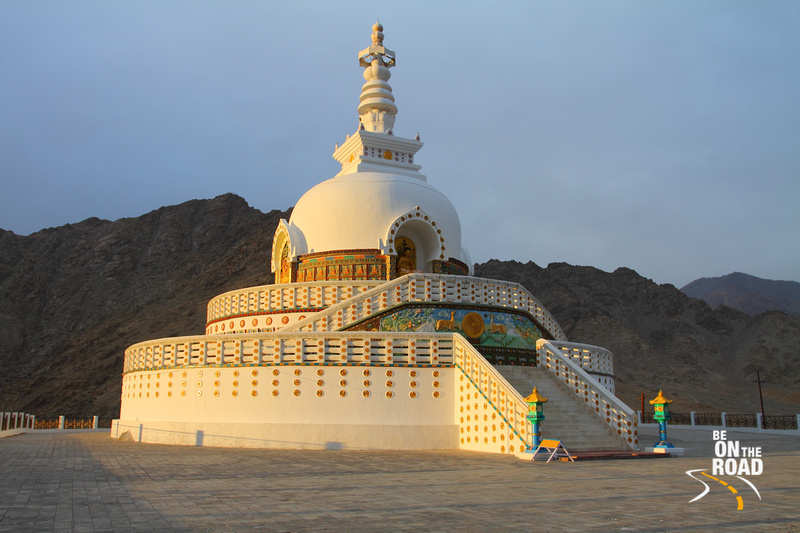 Shanti Stupa during sunset