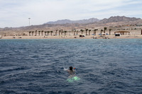 Snorkeling over the rich coral reefs of the Red Sea at Aqaba, Jordan