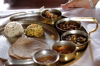 Delicious plate of Rajasthani Thali inside a haveli, Bikaner, Rajasthan