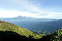 Spectacular view of volcano landscape from Gunung Merapi top, Indonesia