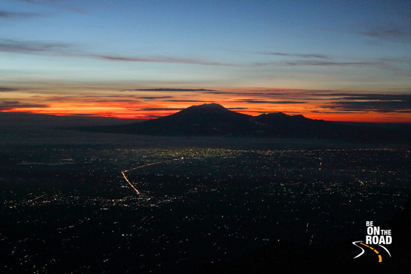 First view of sunrise from Gunung Merapi, Central Java, Indonesia