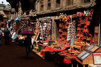 Street in Bhaktapur Heritage zone that is lined with souvenir shops