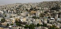 Roman Amphitheater and Amman holly view as seen from the citadel