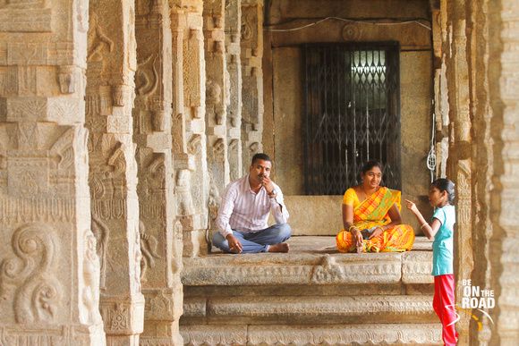 Relaxing amidst the beautifully carved pillars of Veerbhadra Temple, Lepakshi, Andhra Pradesh