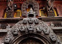 Beautiful sculptures inside the Golden temple of Patan
