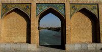 Walls of Khaju Bridge and the river below at Isfahan