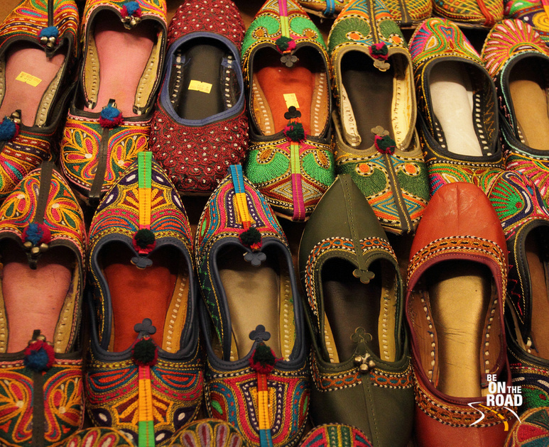 Colorful Jodhpuri shoes on sale at Jodhpur, Rajasthan