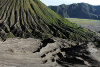 Standing on the path of the volcani flow, Mount Bromo, Indonesia